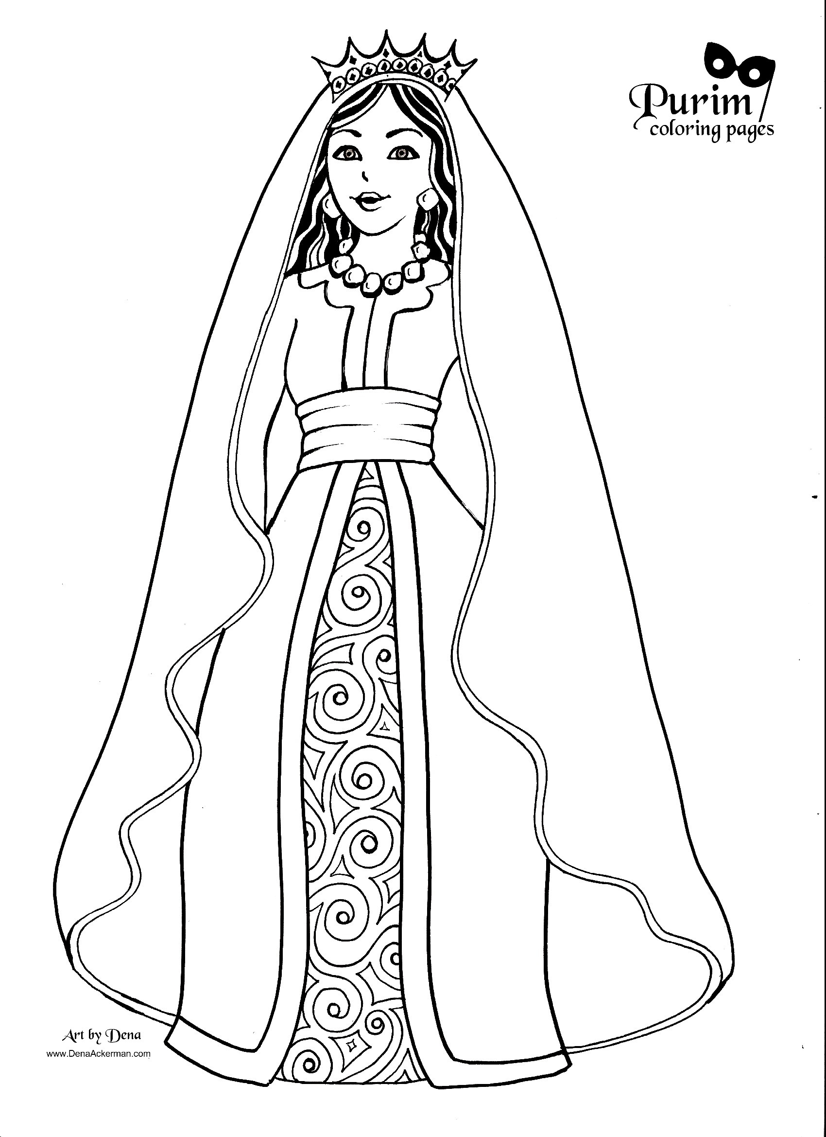 esther bible coloring pages - purim coloring pages